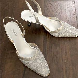Jacqueline Ferrar Silver Lace Heels